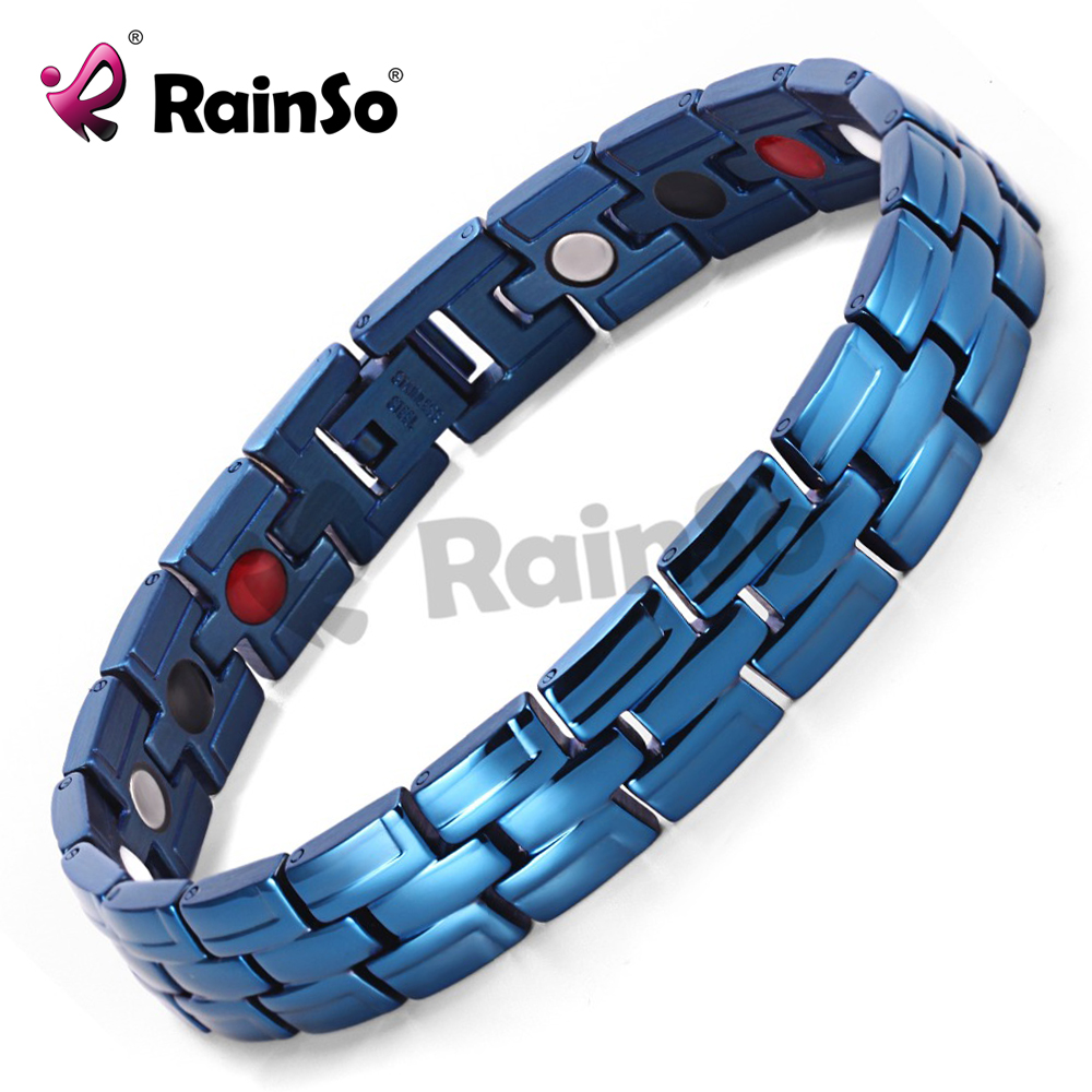 Healing Magnetic Bracelet Men 316L Stainless Steel 3 Health Care Elements(Magnetic,FIR,Germanium) Blue Bracelet Hand Chain 086BL(China (Mainland))