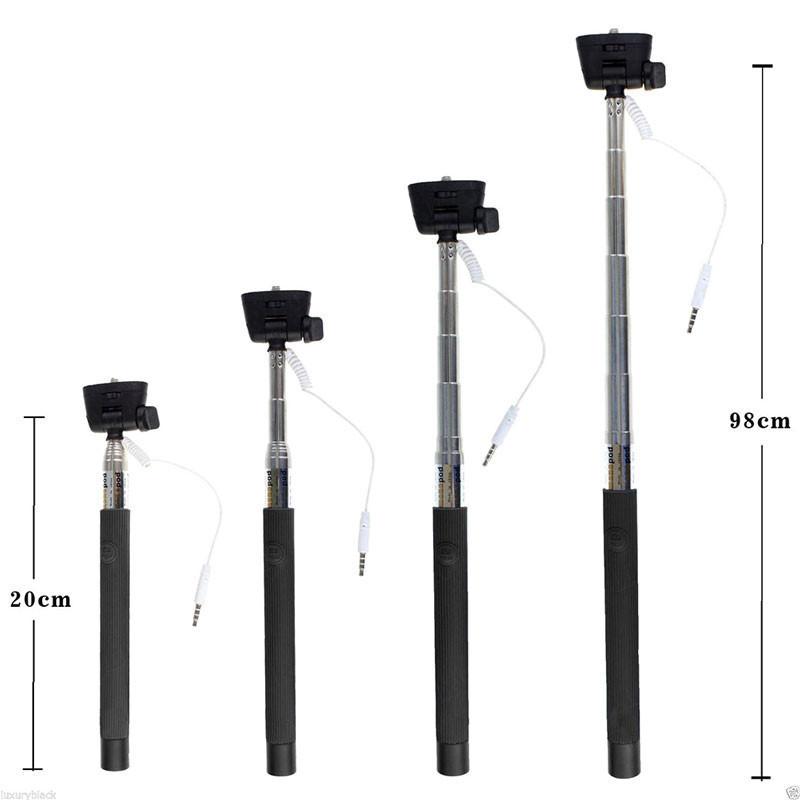 Hot selling Portable Wired Selfie Stick Handheld Monopod Built in Shutter Extendable Mount Holder For Any