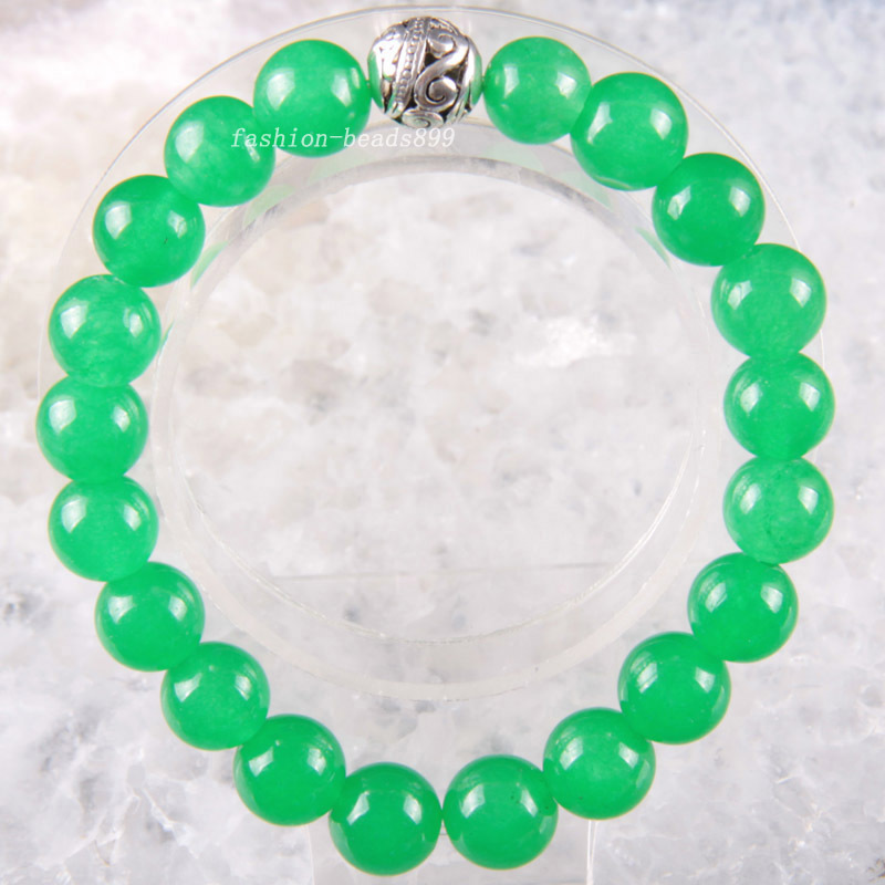 """Free Shipping Silver Stretch 10mm Round Beads Natural Stone Green Jade Bracelet 8"""" 1Pcs LH1792(China (Mainland))"""