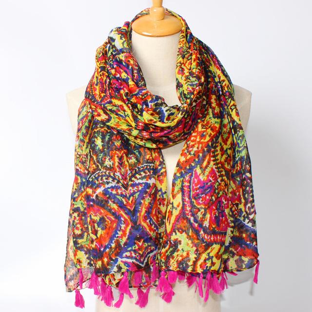 2016 новое поступление зима мода женщин высокое качество богемия национального ветра хлопок Acylic кисти шарф осень дизайнерские платки
