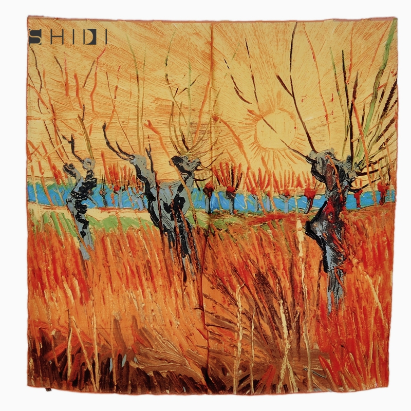100% Luxurious Charmeuse Silk Square Van Gogh's Painting Scarf Willow at Sunset One Piece Hijab Shawl Head Wraps(China (Mainland))