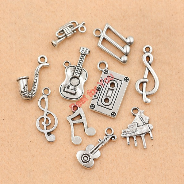 Mixed Tibetan Silver Plated Music Note Guitar Trumpet Sax Charms Pendants Jewelry Making Accessories DIY m039(China (Mainland))