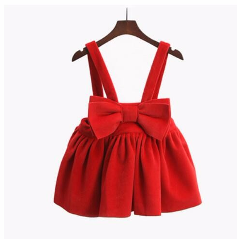 Cheap christmas red princess dress big bow new year costumes for kids strap dress cute overall dresses vestido infantil KD045