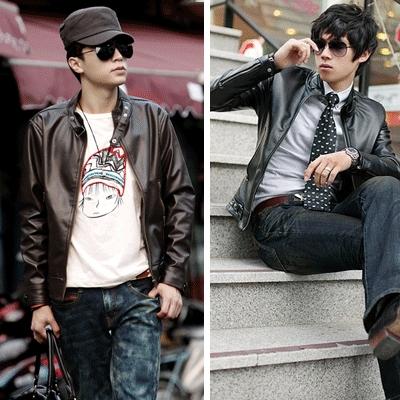 men'S PU Leather coat jacket / coat shot / duffle coat / trench coat / Zip-up call m(China (Mainland))