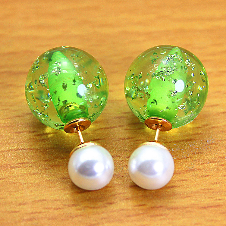 2015 design fashion brand jewelry Summer style stud earring double pearl side colors mixed round earrings for women(China (Mainland))