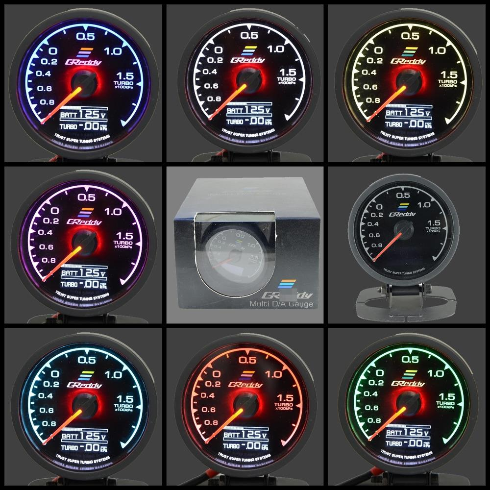 Gre**y Gauge Turbo Boost Gauge 7 Light Colors LCD Display With Voltage Meter Car Gauge 62mm 2.5 Inch With Sensor Greddi Meter(China (Mainland))