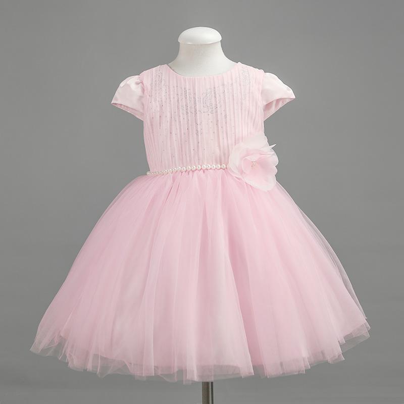 Beautiful Hot Drilling Kids Girls Sequins Dress Pink &amp; Beige Summer Style Short Sleeve Toddler Princess Dress<br><br>Aliexpress