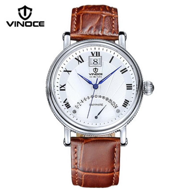 vinoce luxury brand men watch calendar display quartz watch Relogio masculino waterproof leather strap fashion business 633249(China (Mainland))