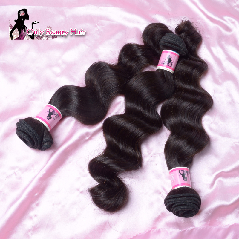 Only Beauty Hair Natural Color Brazilian Virgin Hair Loose Wave 3 Bundle Brazilian Water Wave Human Hair Weaving Hair Extension(China (Mainland))