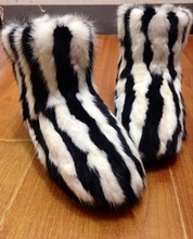 Exclusivos Hechos A Mano alta calidad Europa mujeres de piel de visón de pelo negro sandalias zapatos hechizo minkwoma cebra plataforma botas sexy(China (Mainland))