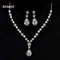 XIAGAO Luxury Love Marquise Stone Cluster Flower Drop Pear Cubic Zirconia Necklace and Earring Wedding Jewelry
