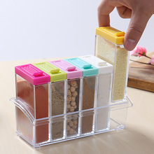 6pcs Transparent Container Spice Jar Colorful Lid Seasoning Box Kitchen Tools Salt MSG Pepper Shakers PP Spice Box Bottle(China (Mainland))