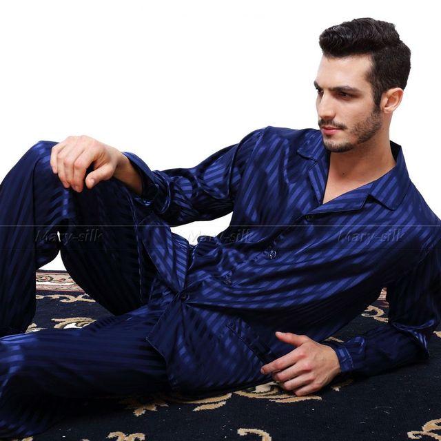 Мужские шелковый атлас пижамы комплект пижамы пижамы установить PJS пижамы установить ...