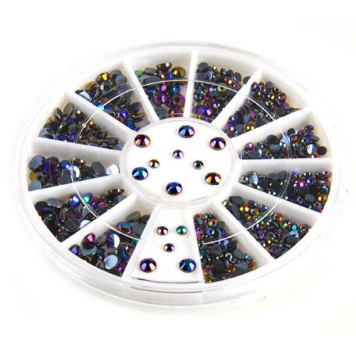 2015  300pcs  3D Gems Crystal  Nail Art  Stickers Tips  Glitter Rhinestone DIY Decorations + Wheel  <br><br>Aliexpress