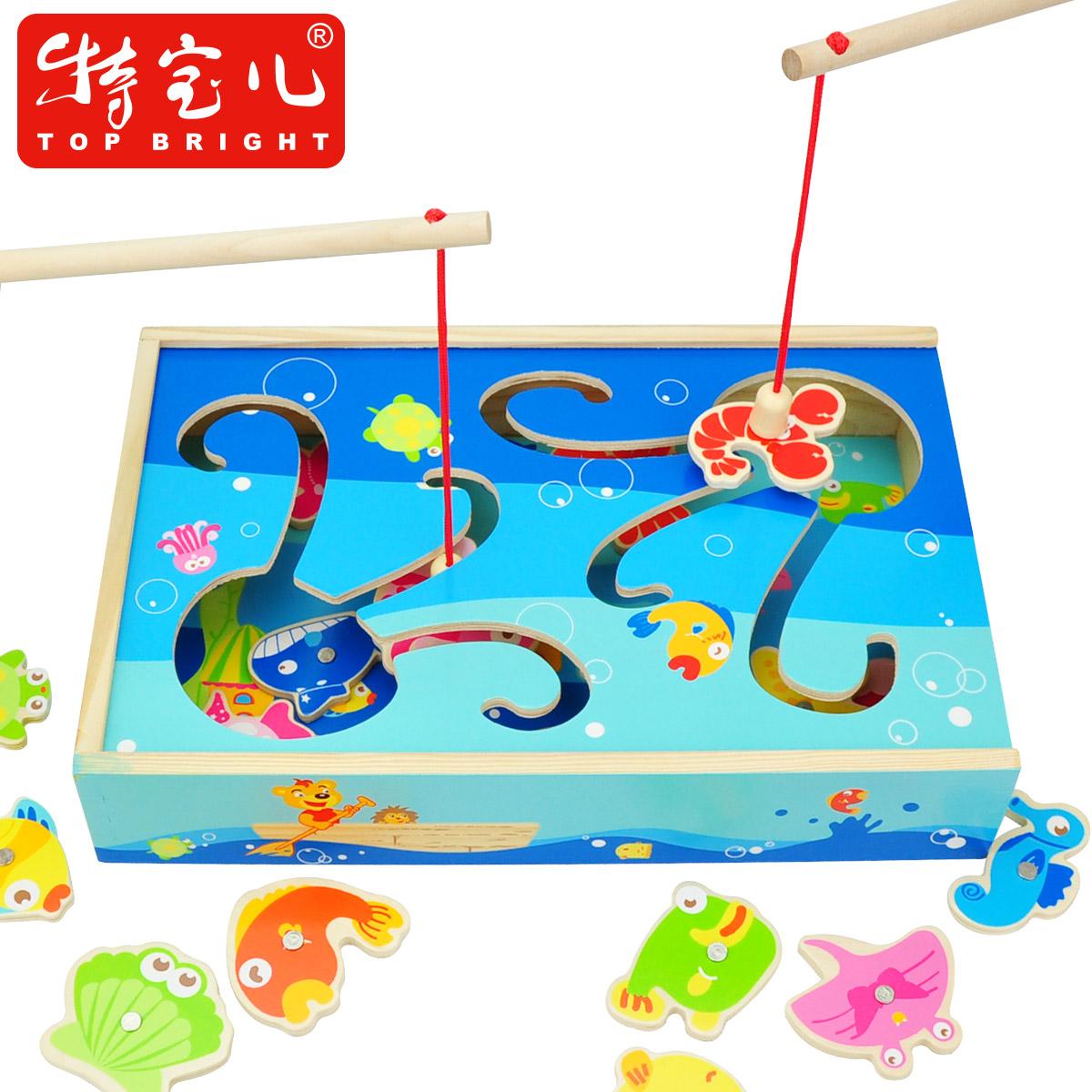 Boa chute double wooden magnetic fishing child toy baby toy yakuchinone 2 fishing toy(China (Mainland))