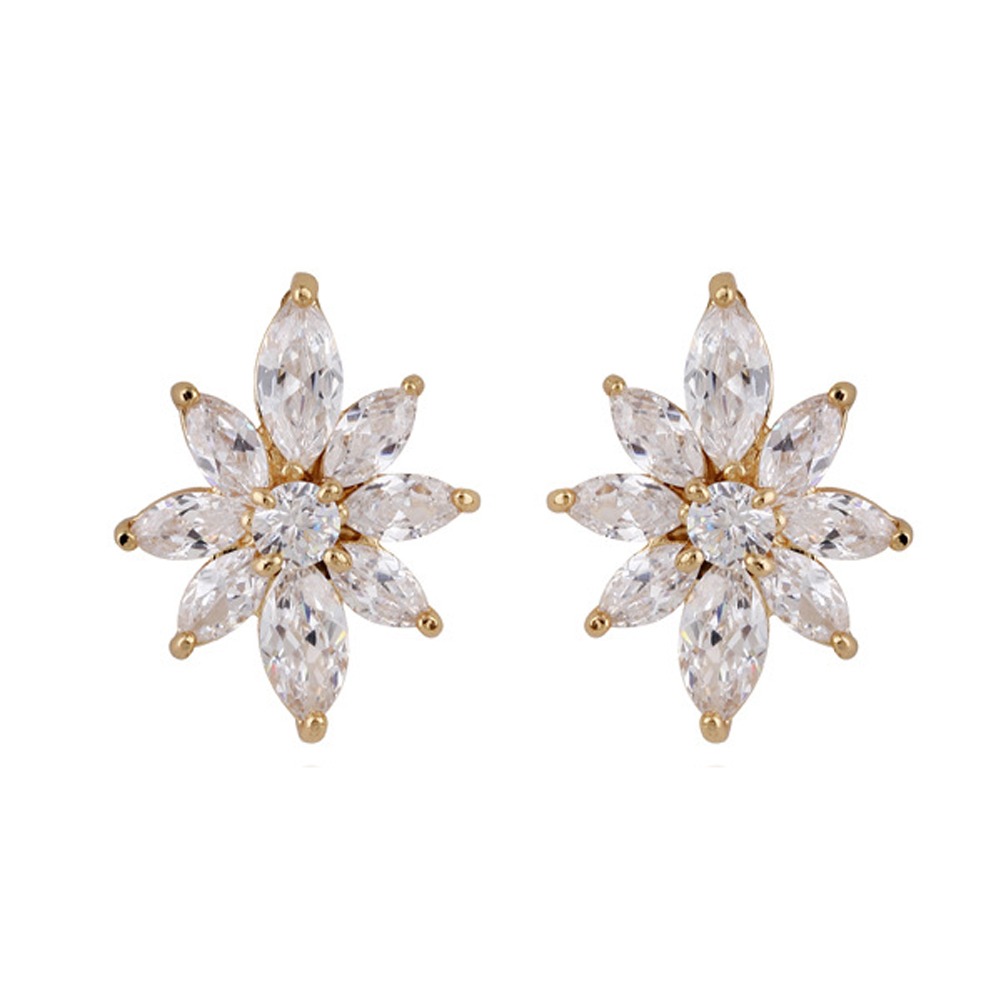 Hot Sale Shiny Flower Shape Artificial Crystal Big Earring Woman Zirconium Stud Earrings Exquisite Imitation Diamond Ear Stud(China (Mainland))