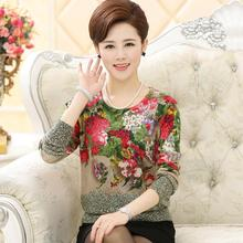 New 2016 women pullover sweater plus size female sweater mother clothing long-sleeve print sweater basic shirt sweater(China (Mainland))