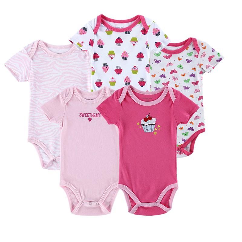 Fashion 5 Pieceslot Infantil 100% Cotton Baby Bodysuit Short Sleeves Toddler Girls Boys Bodysuit Baby Boy Layette Baby Wear (6)