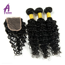 6A Brazilian Deep Curly Virgin Hair With Closure Alimice 3 Bundles With Closure 100 Virgin Brazilian Deep Wave With Closure(China (Mainland))