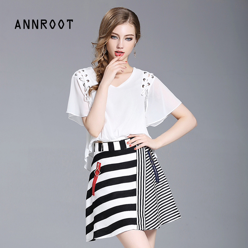 ANNROOT summer women's suit 2017 new casual chiffon short sleeve lady shirt + stitching striped skirt fashion office suite 27025(China (Mainland))