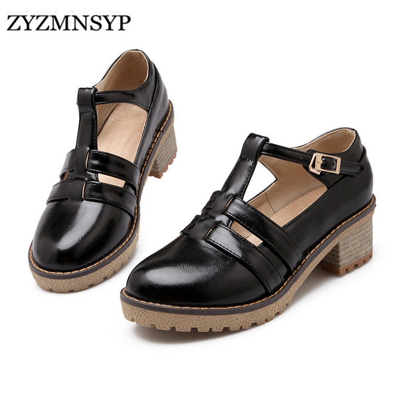 ZYZMNSYP fashion England black red beige Women square low heel Pumps summer ladies round Toe sandal woman sandals platform shoes - ChengDU YGL trade co., LTD store