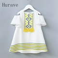 Hurave girls summer fashion dress print tassel strapless girls clothing children pattern cute summer dress vestidos