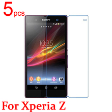 5pcs Ultra Clear LCD Screen Protector Film Cover For Sony Xperia Z L36H L36I C6603 Protective Film + cloth