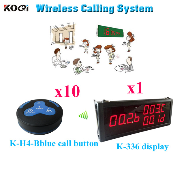 Paging System Wireless Charger Restaurant Smart Wireless Buzzer(1pcs display+10pcs call button)(China (Mainland))