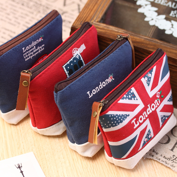 Lovely Cartoon Sewing London Bus England Flag Soldier Stamp Fashion Stationery Coin Purse Key Bag Zipper Wallet Make Up Pouch(China (Mainland))
