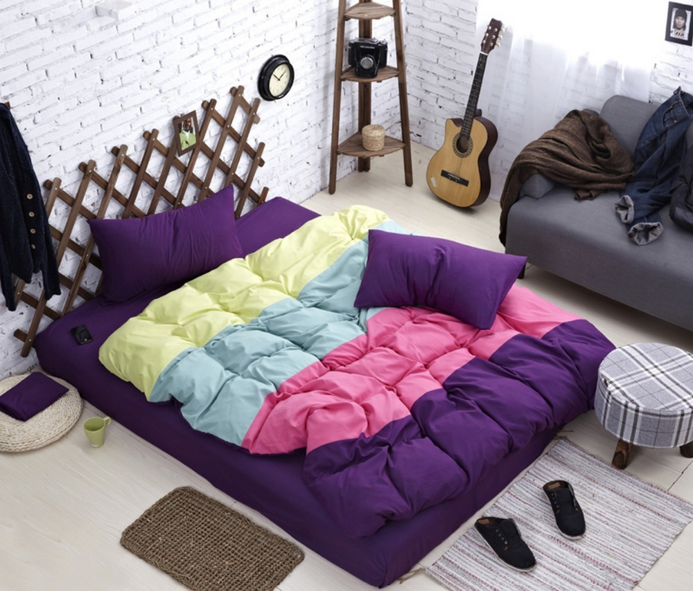 2015 new style four color stitching bedding set full queen