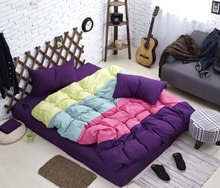 2015 New style Four-color stitching bedding set full/queen/king size include 1pc duvet cover 1pcs bed sheet and 2pcs pillow case(China (Mainland))