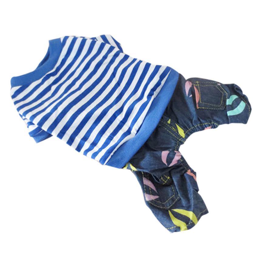 New Pattern Pet Cat Clothes Puppy Small Dog Cat Pet Stripe Denim Apparel Clothes Ropa De Verano Para Perros Dog Summer Jumpsuit