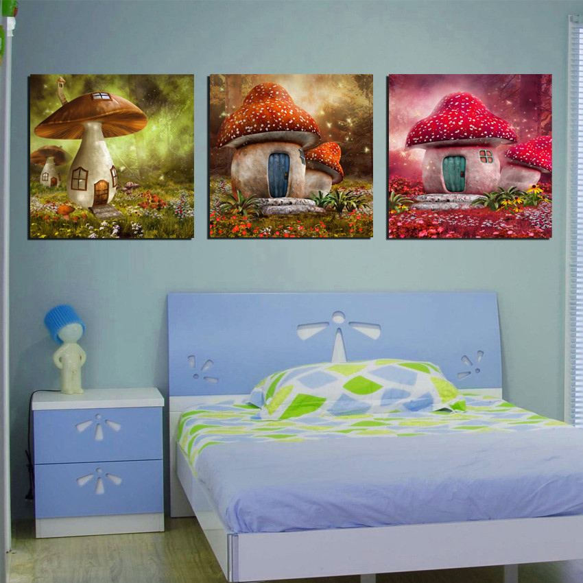 Modern Wall Decor Pictures Kids Room 3 Panel Girls Bedroom Decoration Canvas Prints Cartoon Mushroom House Paintings No Framed(China (Mainland))