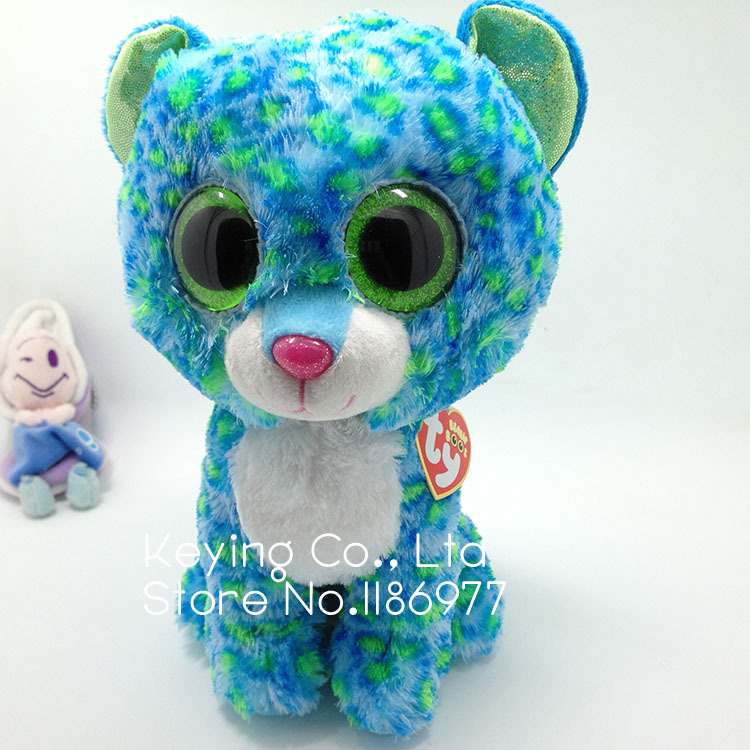 10'' 25cm Rare Big Eyes Blue Green Red Leopard Cheetah Cute Soft Stuffed Animal Plush Toy Doll Birthday Gift Baby Girl Boy Gift(China (Mainland))
