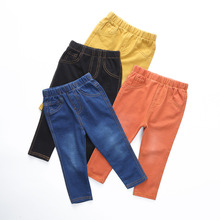 2016 spring autumn children's clothing girls boy pants Slim Children's jeans feet knitted stretch denim jeans trousers 4colors