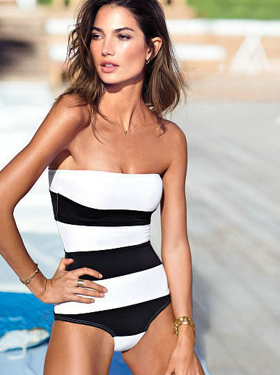 Europe and the black and white stripes stitching slim body conjoined fashion women's swimsuit Bikini I hot new factory direct(China (Mainland))
