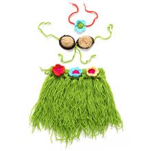 1 set/lot New Fashion Baby Hand Crochet Hula Skirt Brooch Headwear Sets Baby Photography Props (China (Mainland))