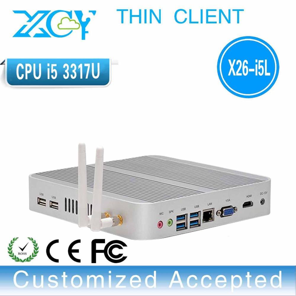 3317U fanless motherboard thin client 3317U mini pc i5 fanless computer intel core i5 3317U barebone system support 1080p video(China (Mainland))