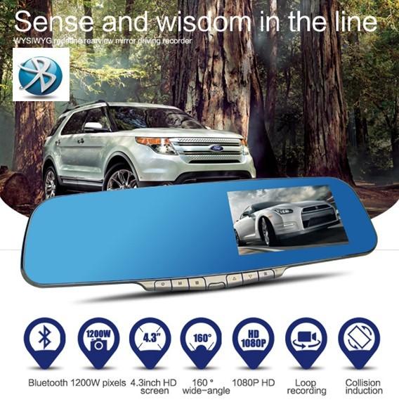 "wholesale Bluetooth Car dvr Camera rearview Mirror 4.3"" video recorder TFT LCD + HD 1920*1080P + G-Sensor + H.264 ++ HDMI dvr(China (Mainland))"