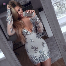 Buy 2016 Fashion Women Long sleeve sequined dresses Sexy Drop V neck Gold Sequined Stitching dress 5 color High for $24.81 in AliExpress store