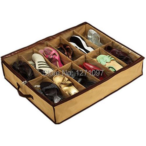 2pcs Free Shipping Fabric 12 Pairs Shoes Storage Bag Box Holder Organizer Case Dustproof Intake(China (Mainland))