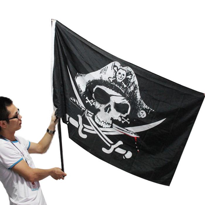 Large Skull /& Cross Crossbones Sabres Swords Jolly Roger Pirate Flags 3x5FT new