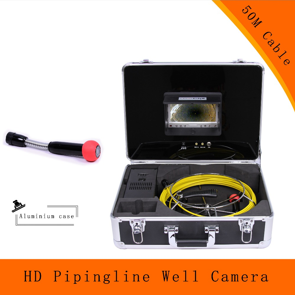 (1 set) 50M Cable WaterProof endoscope camera 7 inch Color Display sewer Piping inspection system CMOS HD 1100TVL Line(China (Mainland))