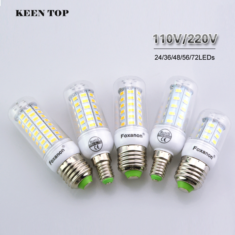 Full NEW LED Cron Lamp E27 E14 LED Bulb 5730SMD Led Candle light AC110V 220V bombillas led Chandelier Spotlight lampada led()