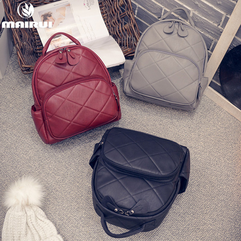 New Fashion Women Solid Backpacks High Quality Soft PU Leather Vintage Backpacks for Teenage Girls Student Travel School Bags(China (Mainland))