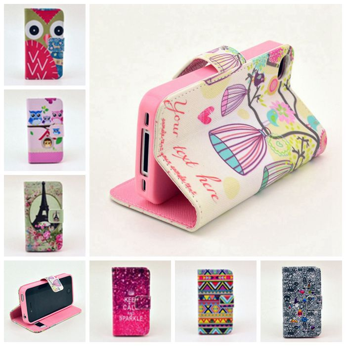 New 2014 Cute Luxury Painting Wallet Leather Skin Phone Cases for Apple iPhone4 4S Stand Cover Bag with Card Holder for iPhone 4(China (Mainland))