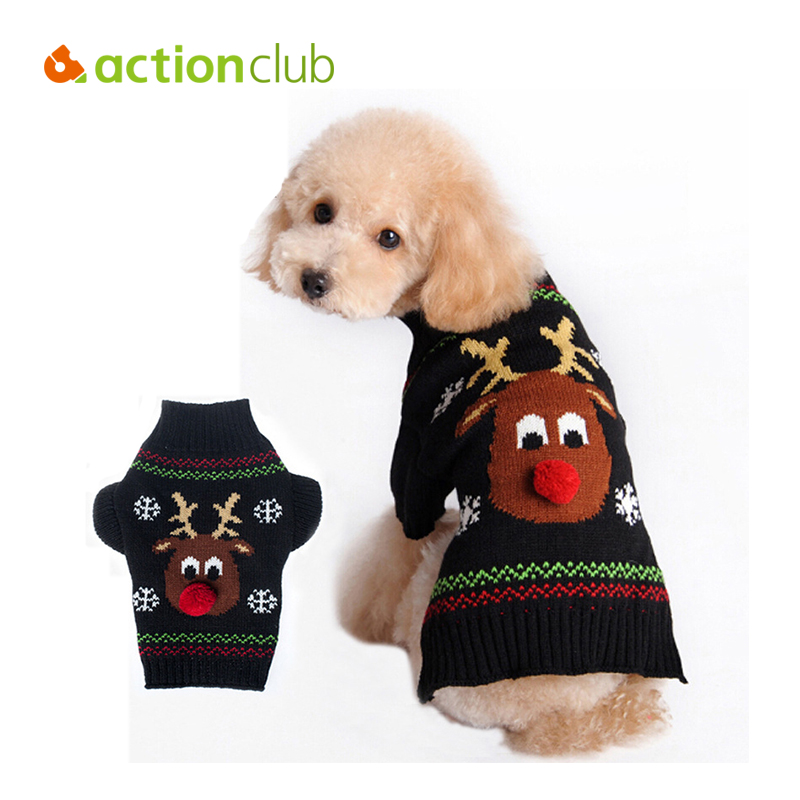 Actionclub Red Nose Rudolph Dog Sweater Christmas Dog Winter Coat Soft Washable Dog Clothes For Small Poddle & Teddy Dog Sweater(China (Mainland))