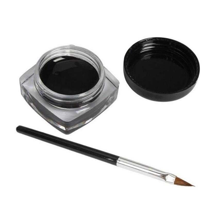 #Y# 1Pcs Brand New Black Long-lastingt Eye Liner Eyeliner Gel Makeup Cosmetic Eyeliners With Brush JAN12
