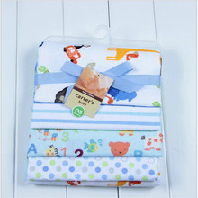 Fashion baby receiving blankets print blanket cotton sheet for baby 4pcs/set