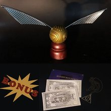 Harri Potter Golden Snitch with Hogwarts London Express Replica Train Ticket and Knight Bus Ticket and Hallows Necklace(China)